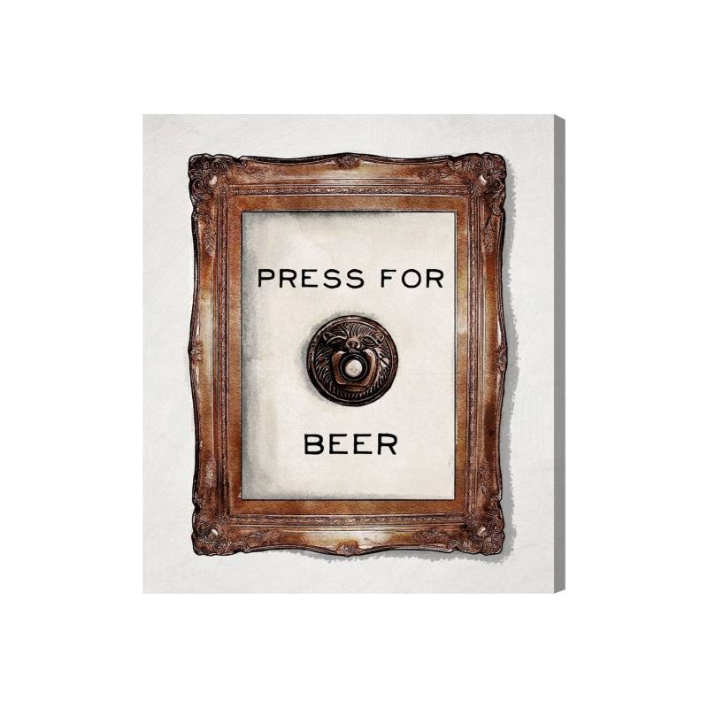 Press for Beer Canvas Wall Art