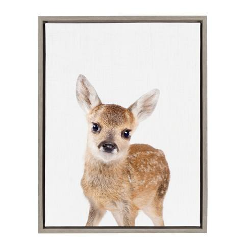 "Kate & Laurel 24""x18"" Sylvie Baby Deer Animal Print Portrait By Amy Peterson Framed Wall Canvas Gray"
