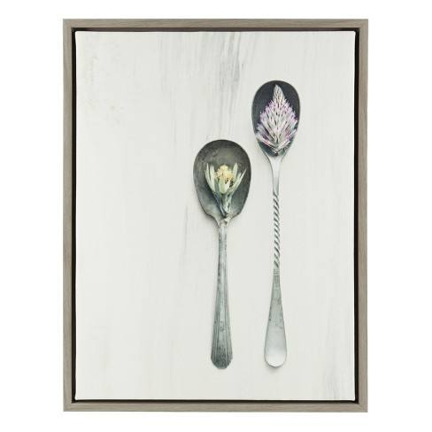 "Kate & Laurel 24""x18"" Sylvie Spoons Framed Wall Canvas Gray"