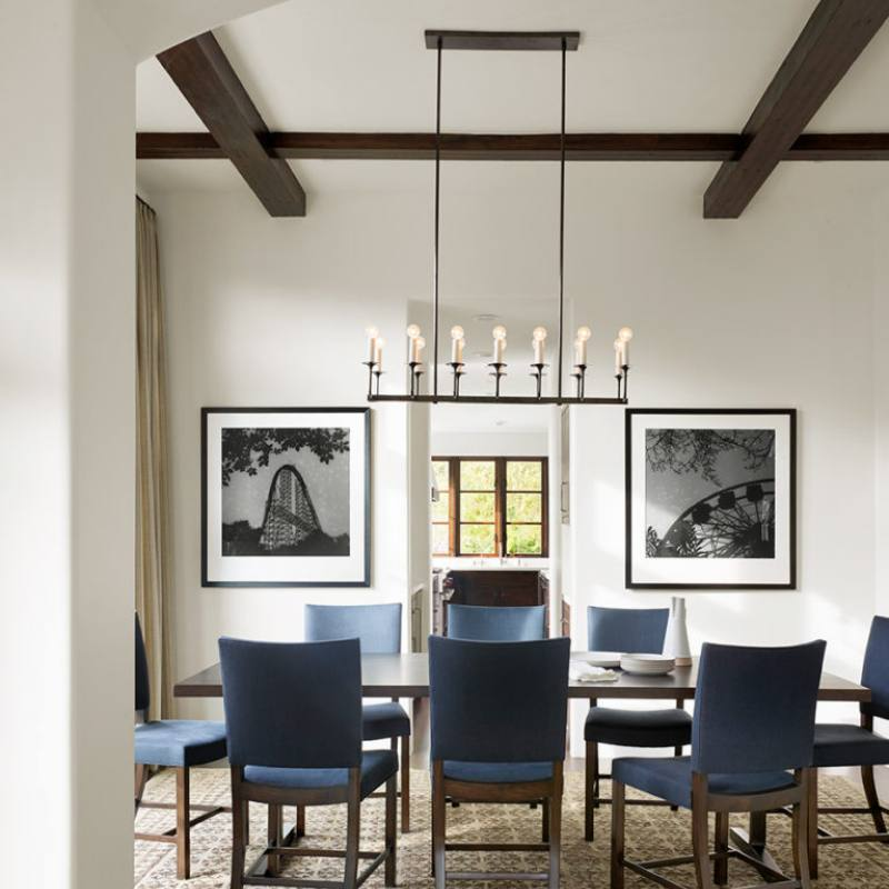 Contemporary classic dining room design with blue accents by jutehome