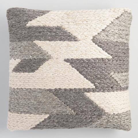 Gray Abstract Woven Indoor Outdoor Throw Pillow