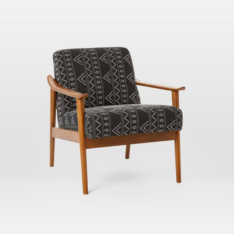 Mid-Century Show Wood Chair - Black + White Jacquard