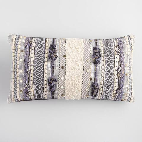 Gray Moroccan Lumbar Pillow