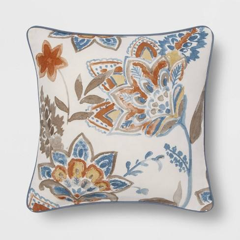 Watercolor Floral Square Throw Pillow Blue - Threshold�