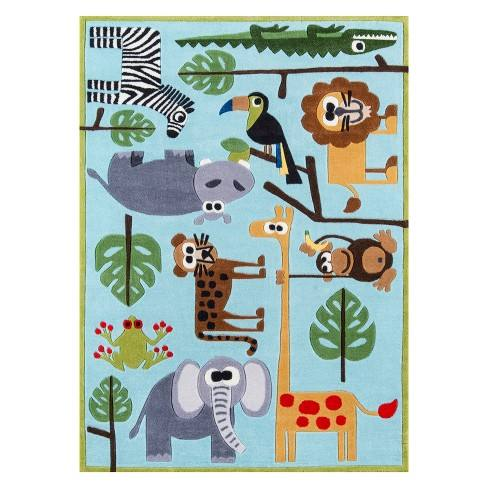 Lil Mo Whimsy Safari Animal Print Tufted Accent Rug - Momeni