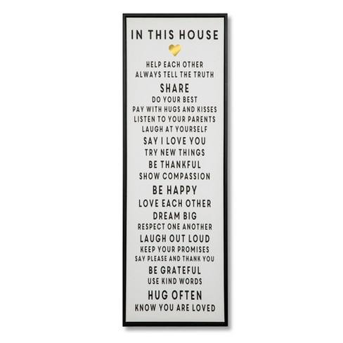 "36""x12"" In This House Framed Wall Canvas White - Threshold�"