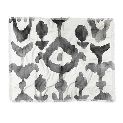 "60""X50"" Natalie Baca Painterly Flower Ikat Throw Blanket Black - Deny Designs"
