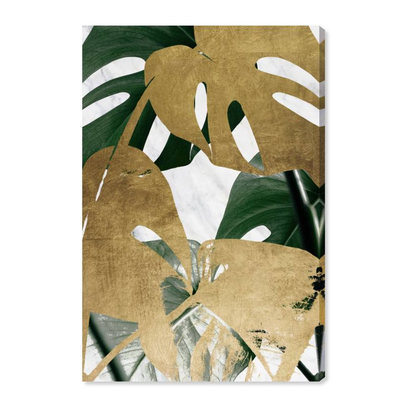 Golden Plants Canvas Wall Art