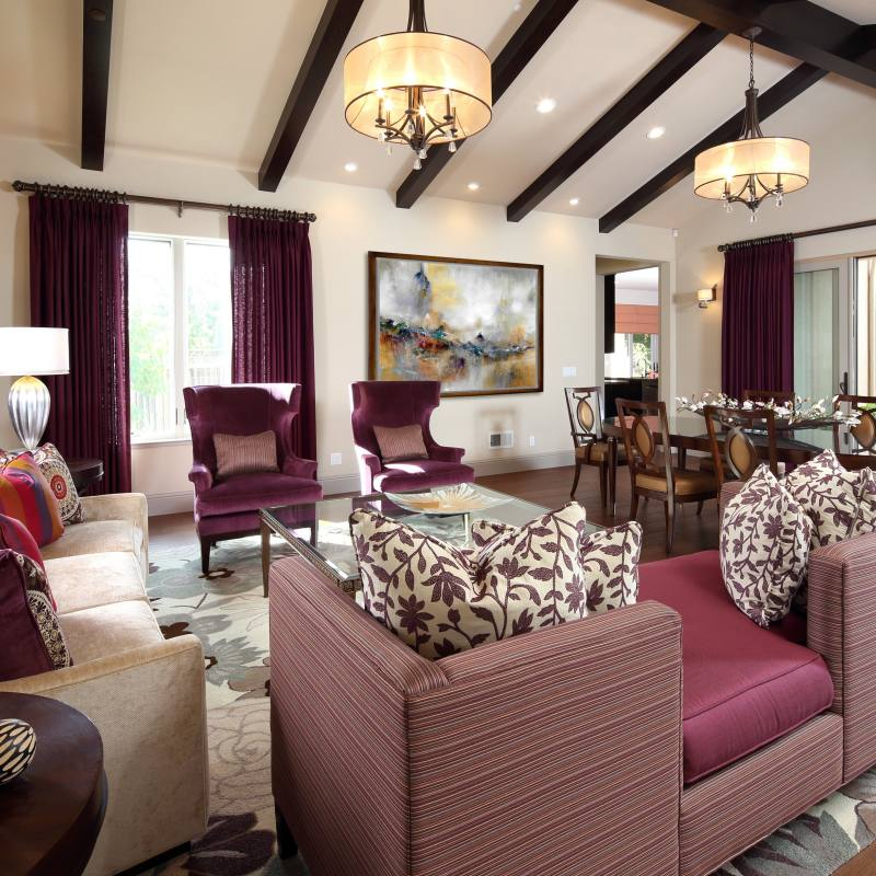 Plum Accent Traditional Living Room