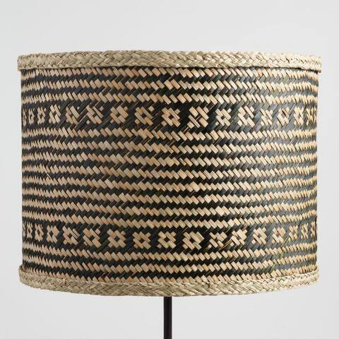 Black Stripe Woven Seagrass Drum Table Lamp Shade