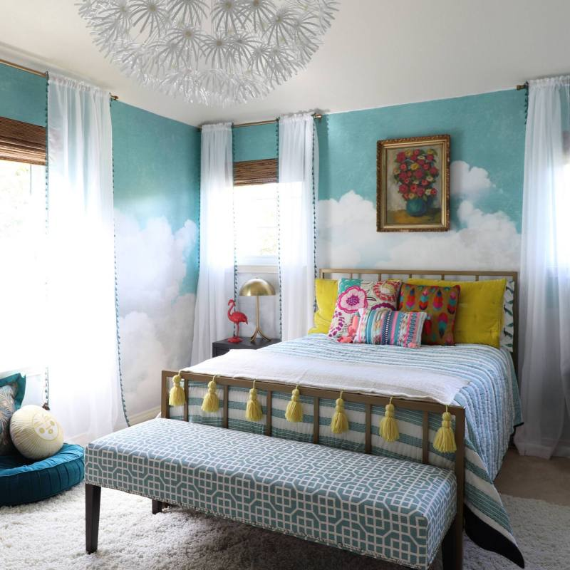Colorful bohemian bedroom idea