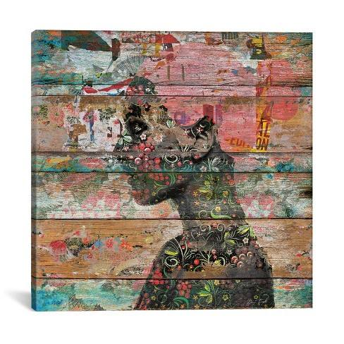 "18""x18"" Inner Nature (Profile Of Woman) by Diego Tirigall Unframed Wall Canvas Print Antique Wood - iCanvas"