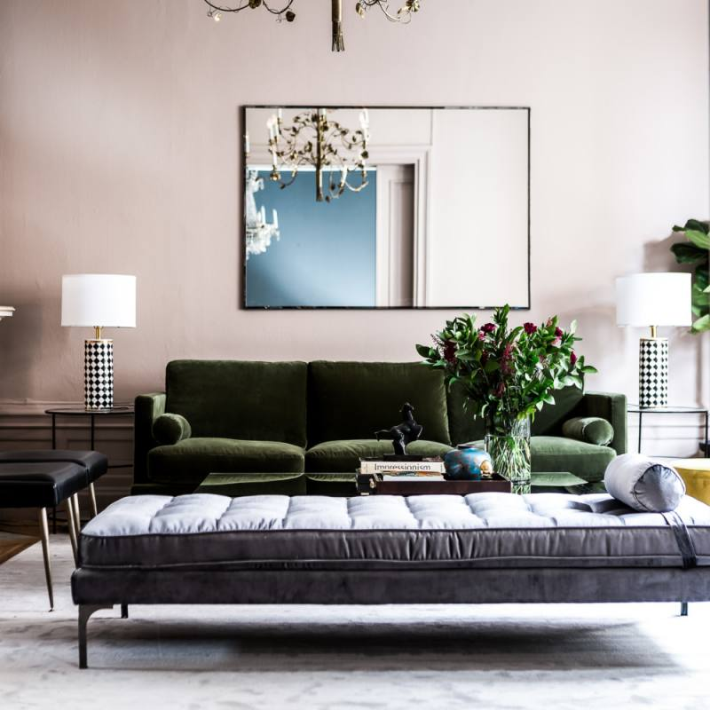 Elegant Scandinavian Living room with Green Sofa