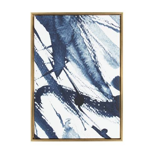 "Kate & Laurel 33""x23"" Sylvie Indigo Watercolor Abstract Print Framed Wall Canvas Gold"