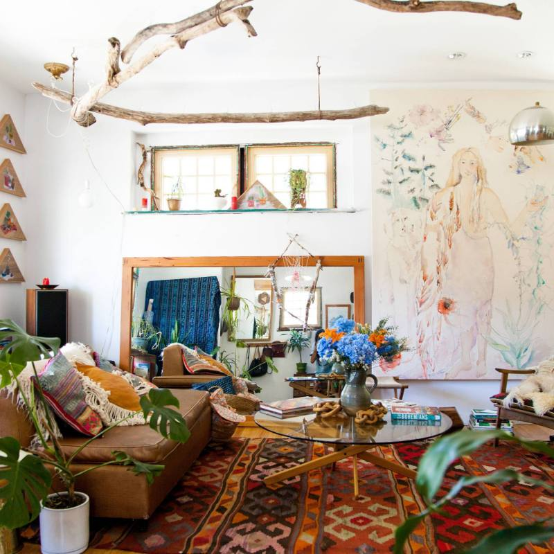 Colorful boho chic living room ideas