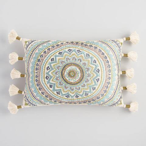 Cool Medallion Embroidered Tassel Lumbar Pillow
