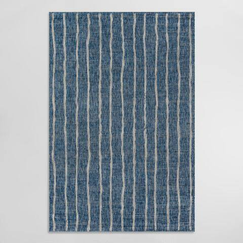 Blue and Ivory Stripe Parker Indoor Outdoor Rug