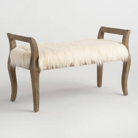 Natural Faux Flokati Gunnar Bench