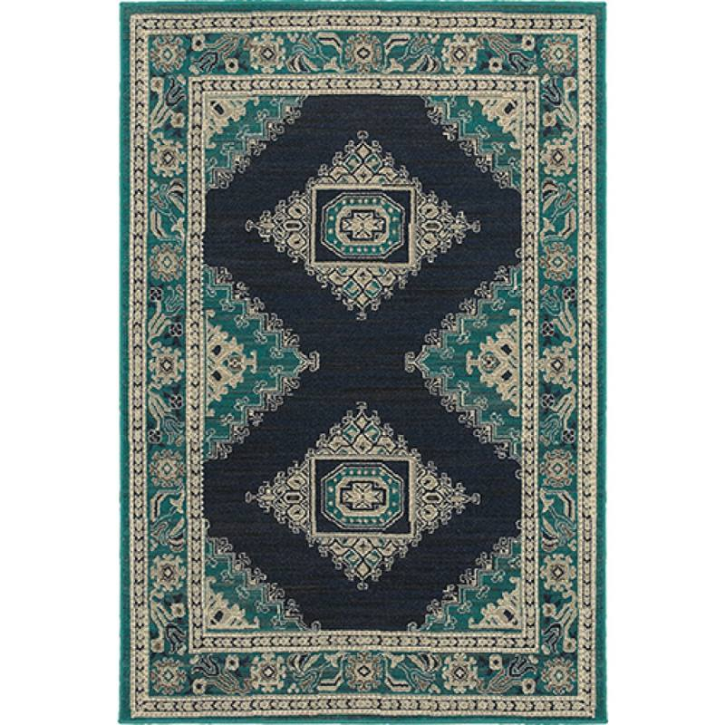 Eveline Rug, Teal and Navy