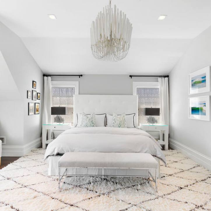 All white Modern master  bedroom