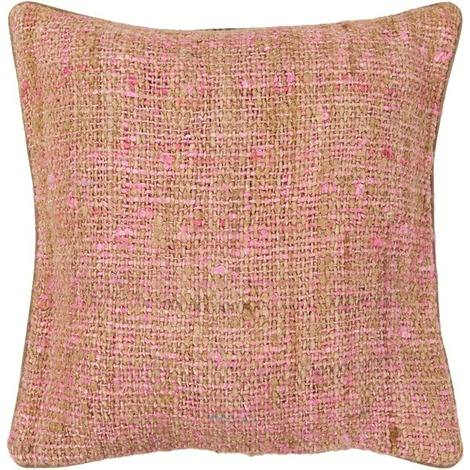 Textured Contemporary Silk Fabric Pillow - Pink/Natural