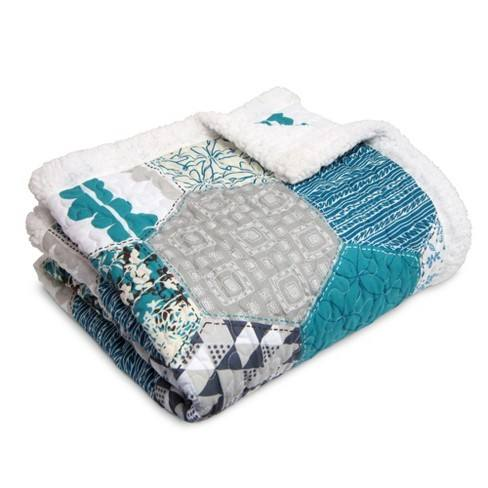 "Turquoise Sherpa Briley Throw (60""x50"") - Lush D�cor"