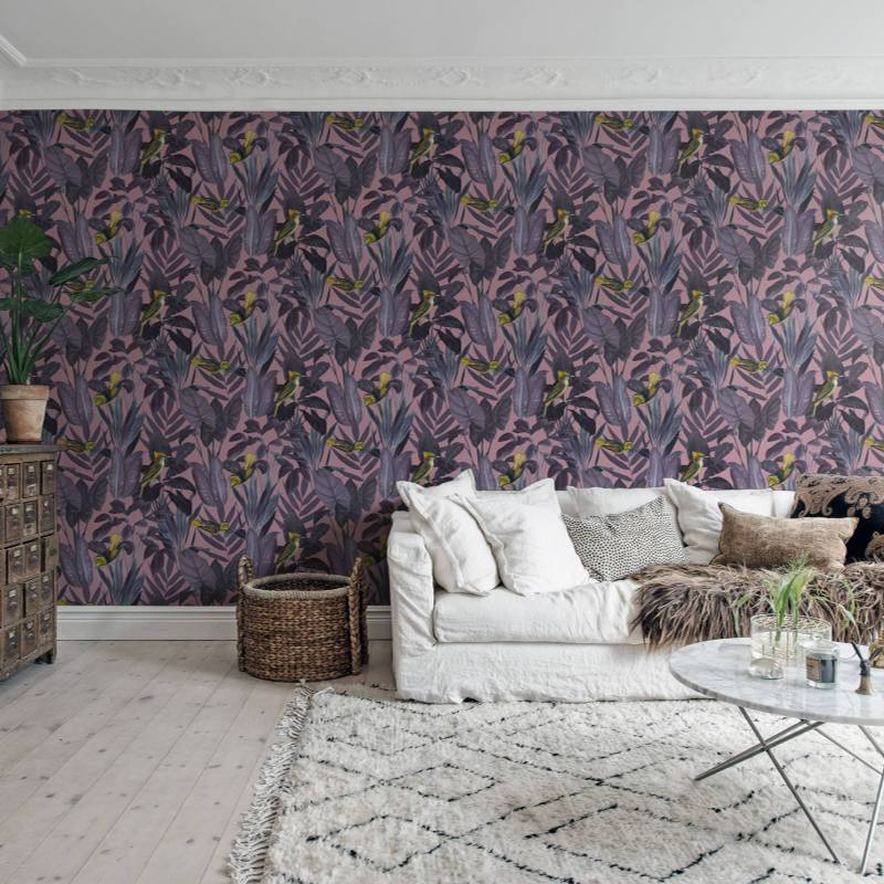 Boho Eclectic Living Room with unique wall paper