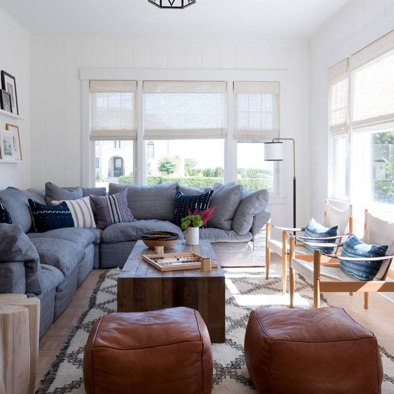 California style modern boho living room