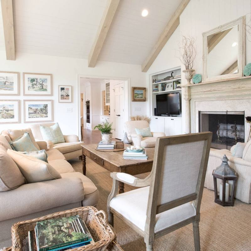 Farmhouse Style Country Neutral Living Room