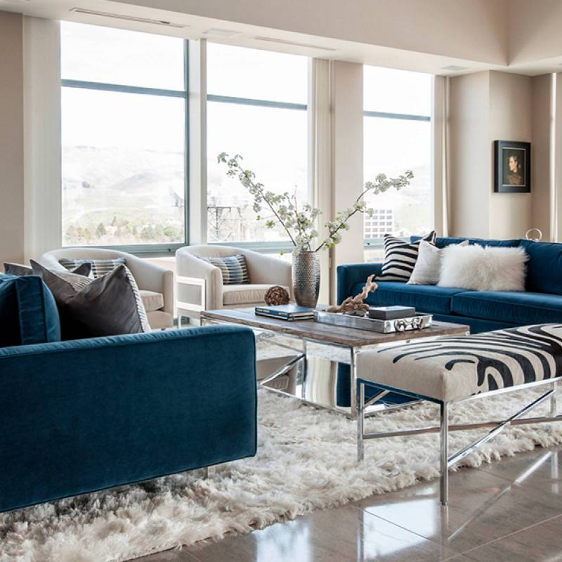Get the look: Modern blue sofa living room