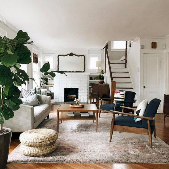 Midcentury meets Farmhouse Living Room Decor