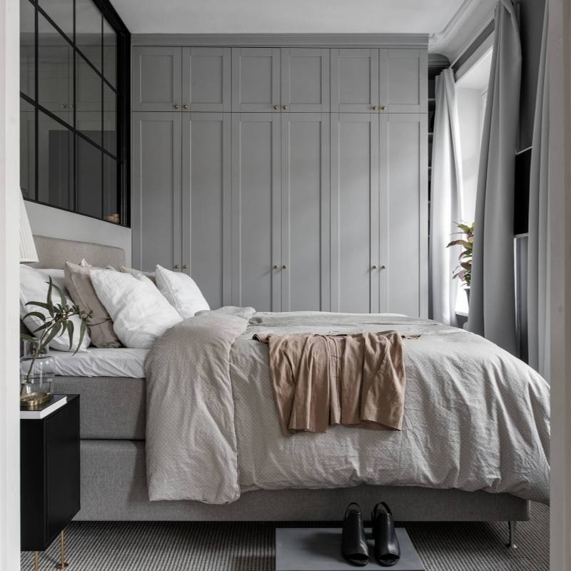 Grey modern small Scandinavian Bedroom