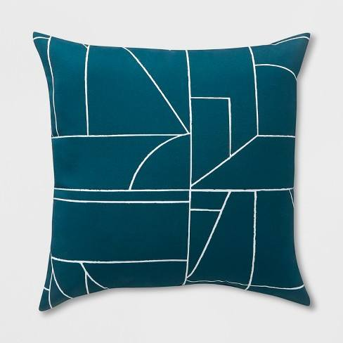 2pk Square Geo Block Outdoor Pillows Teal - Project 62�