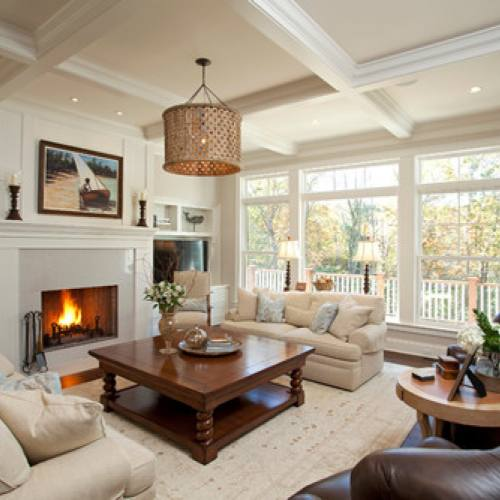Cozy family room with fireplace