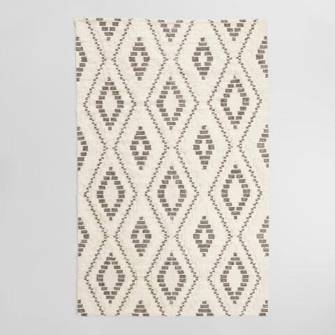 Ivory and Brown Shag Diamond Wool Kilim Kokkari Area Rug