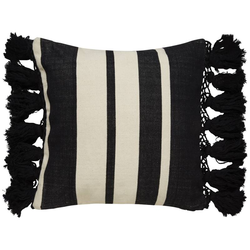 Kate Spade New York Yorkville Tassel Stripe Pillow, Black