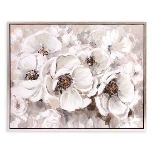 "30""x38"" Ivory Flowers Framed Canvas Art Silver - Patton Wall Decor"