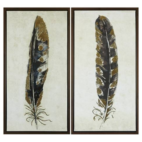 "Framed Feather Canvas Wall Art Yellow/Blue 34.76""x5.12""x19.3"" 2pk"