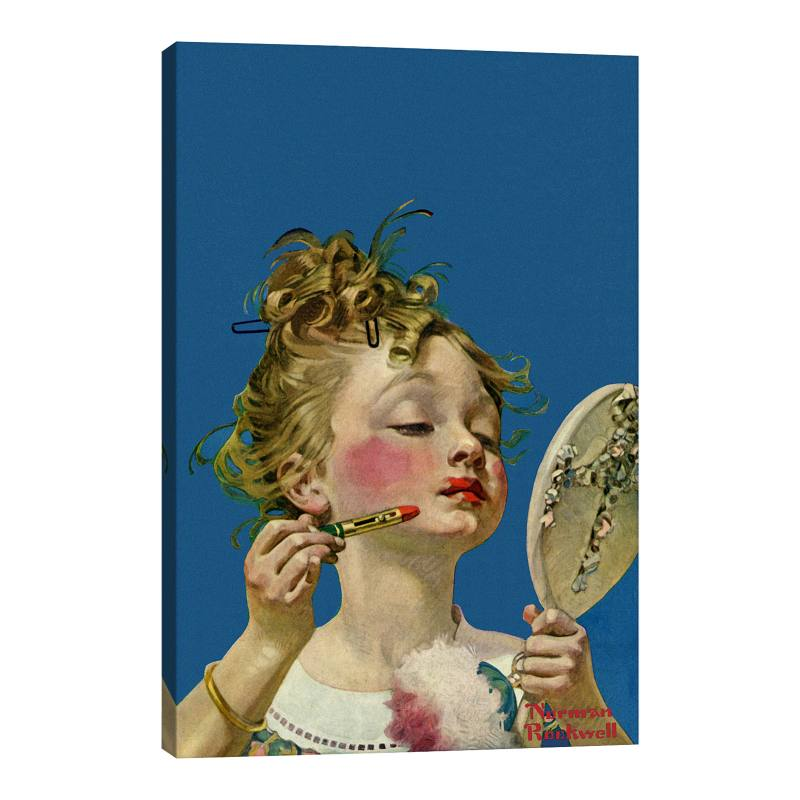 Little Girls with Lipstick - Norman Rockwell Gicl�e Print Canvas Art