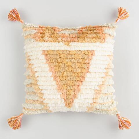 Ivory and Peach Triangle Shag Throw Pillow