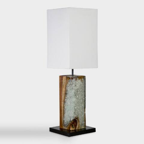 Natural Teak and Recycled Glass Table Lamp and Shade Set