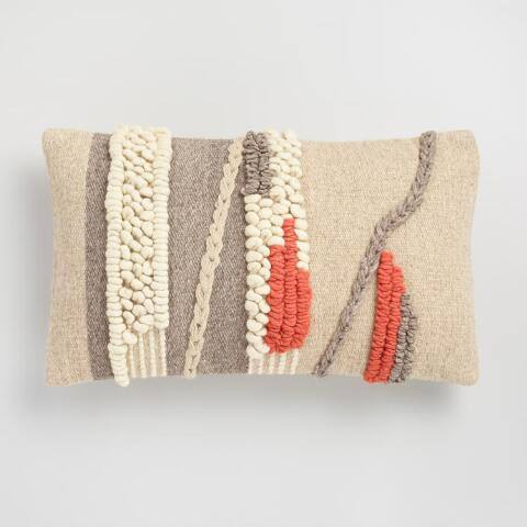 Oversized Desert Textured Woven Lumbar Pillow
