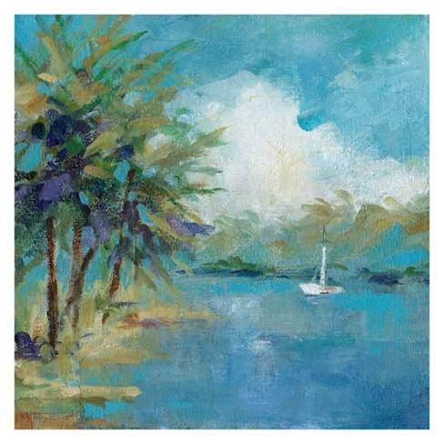 "35""x35"" Peaceful Cove By Carol Robinson Art On Canvas - Fine Art Canvas"
