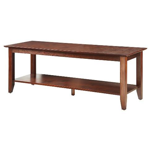 American Heritage Coffee Table with Shelf - Convenience Concepts
