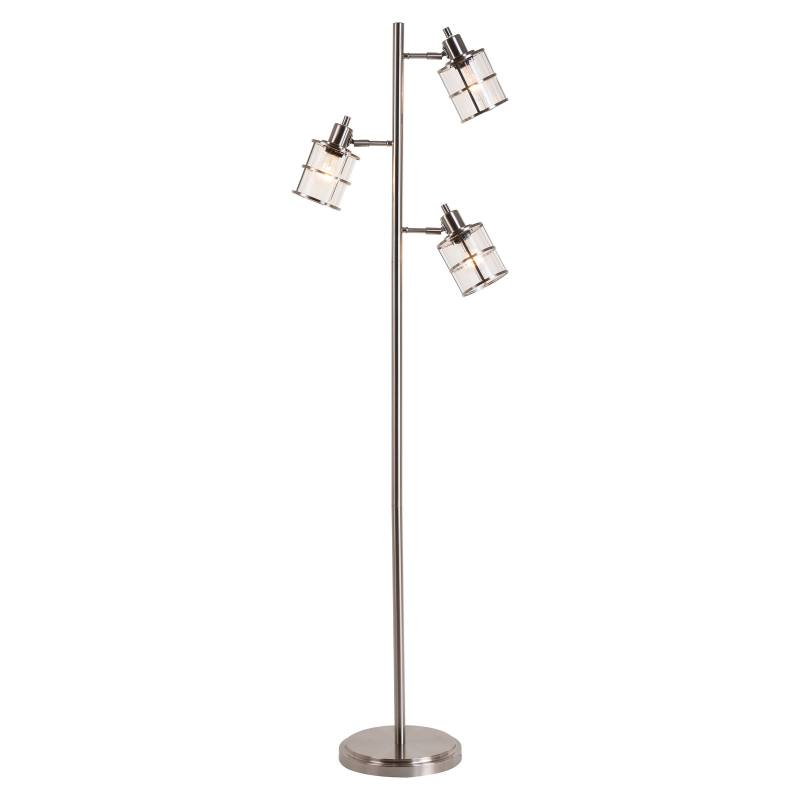 JAlexander Ribbed Glass 3-Head Floor Lamp