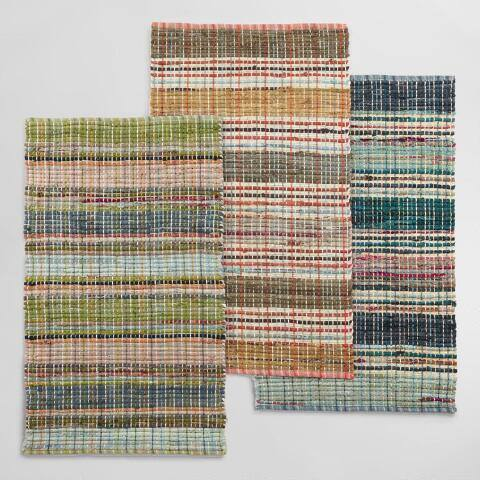 Multicolor Houndstooth Stripe Cotton Chindi Area Rug