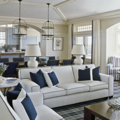 Traditional classic white and navy living room by Sherrill Canet Interiors