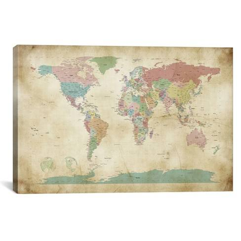 "26""x40"" World Cities Map by Michael Tompsett Unframed Wall Canvas Print Vintage Antique Khaki - iCanvas"