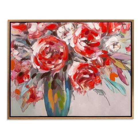 "30""x38"" Scarlet Bouquet Floral Framed Canvas Art Gold - Patton Wall Decor"