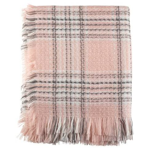 "Pink Checkered Plaid Fringe Throw Blankets (50""x60"") - Saro Lifestyle�"